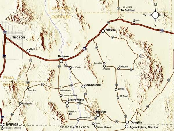 Map Of Southeast Arizona.Cities Discover Southeast Arizona